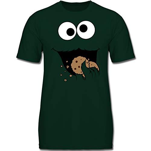 Karneval & Fasching Kinder - Keks-Monster - 116 (5-6 Jahre) - Tannengrün - F130K - Jungen Kinder T-Shirt (Cookie Monster Kostüm Frau)