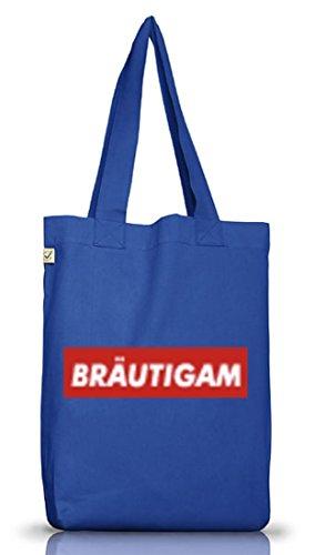 Jutebeutel Bräutigam Geschenkidee Partner Gruppen Kostüm Mode JGA Feier Graffiti Streetart Bright Blue