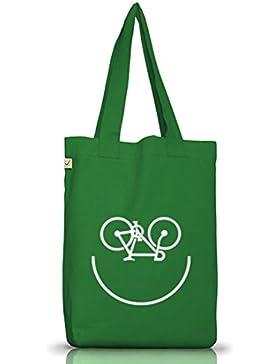 Sport Jutebeutel Stoffbeutel Earth Positive Bike Smiley
