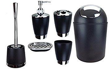GMMH Set di 6 accessori da bagno, con dispenser per sapone, portasapone e scopino per WC. Nero
