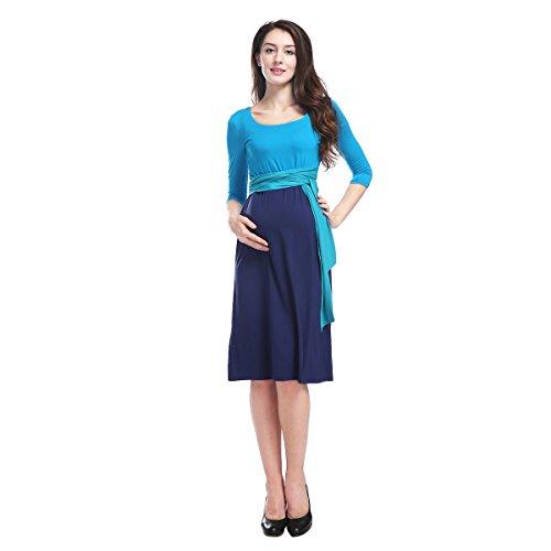Frauen Himmel blau Top dunkelblau Rock Mutterschaft Krankenpflege Sommer Skater Kleid lange Ärmel DS911 L (Ärmel Blauer Lange Himmel, Jersey)