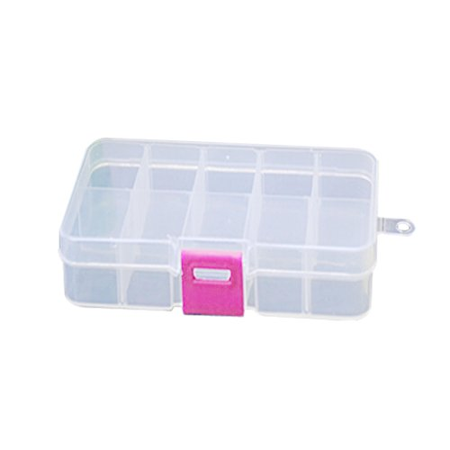 Plastica 10Slot regolabile Jewelry Organizer contenitore per perline Craft Contenitore per orecchini, rose red, 13.2*6.8*2.3cm