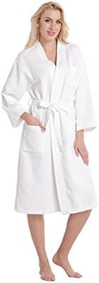 Aibrou Unisex Pijamas, 100% Algodón Ligera Bata, Excelente Calidad Waffle Tejidao Albornoz Vestido Para Spa, Casa, Hotel,Dormir.