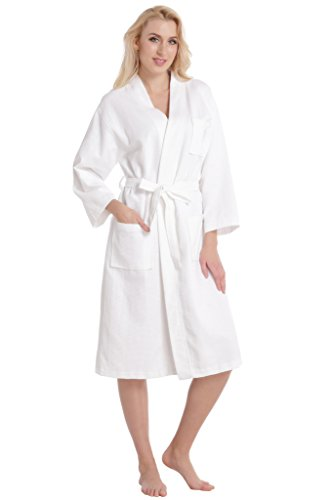 - 31u rmroBDL - Aibrou Unisex Waffle Weave 100% Cotton Bathrobe Dressing Gown Lightweight Robe for Spa Hotel Sleepwear