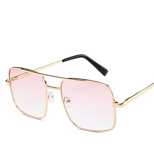 Fashion Square Sonnenbrille Männer Übergröße Fahren Coole Sonnenbrille Männlich Retro Vintage Übergröße Shades Weiblich Eyewear (Lenses Color : Pink Clear)