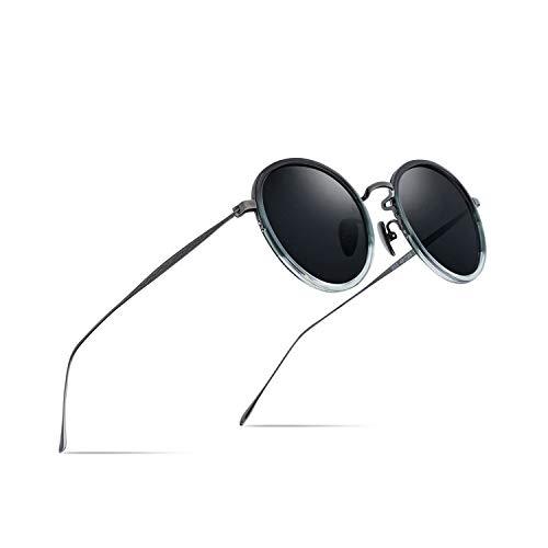 Sport-Sonnenbrillen, Vintage Sonnenbrillen, Pure B Titanium Acetate Polarized Sunglasses WoMänner NEW Fashion Vintage Round Sunglass Männer Retro Mirrored Sun Glasses Oculos Gray