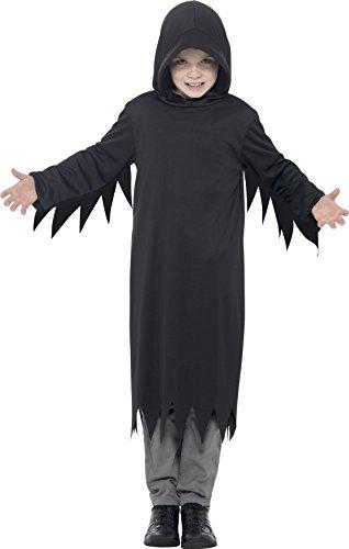 Smiffy's 45482M - Kinder Jungen Dunkles Sensenmann Kostüm mit Kapuze, Alter: 7-9 Jahre, (Jungen Ideen Alten Kostüm 9 Jahre Halloween)