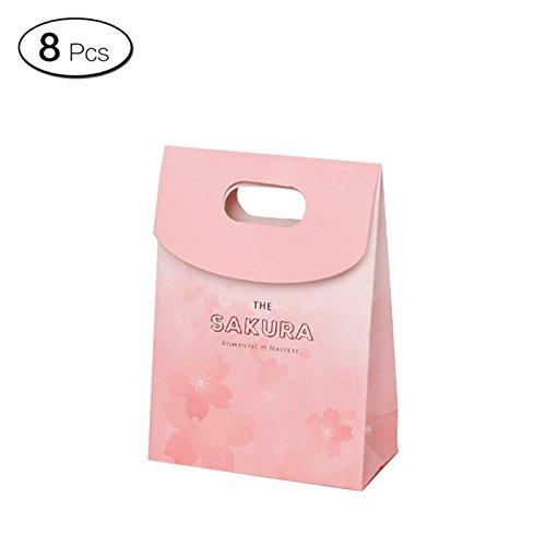 Jia HU 8Cherry Blossoms Backen Geschenk Beutel mit Griffen Schleife Tasche Cookies Candy, Large