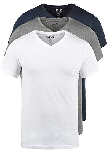 !Solid Portus T-Shirt Kurzarm Shirt Mit V- Ausschnitt Aus 100% Baumwolle 3er Pack, Größe:XL, Farbe:3er-Box-1 -