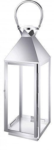 Edelstahl Design Laterne CCD-9605 Größe M Glas Metall Windlicht Gartenlaterne