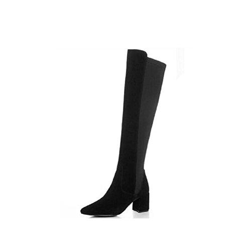 YYH Chic couture bottes Stretch élastique cuisse au-dessus Bootie du genou féminin Black