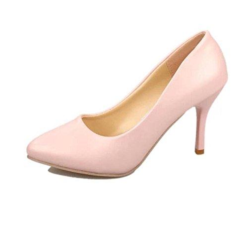 LDMB Damen Einzeln Schuhe Fine Mit High-Heeled Arbeit Mit Vier Jahreszeiten Schuhe Pink
