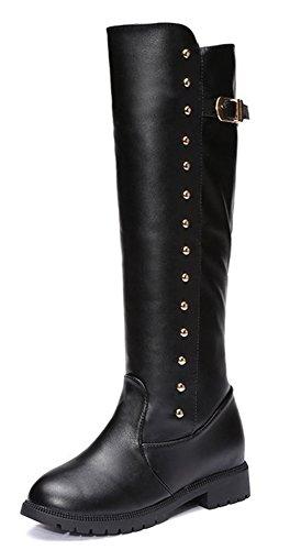 Aisun Femme Sexy Rivets Tige Haute Bout Rond Noir Bottes Noir