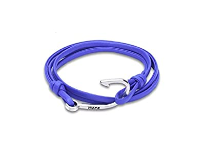 HFjingjing Personalized Vintage Cowhide Leather Braided Woven Fishing Hook Bracelet(Blue) for Decoration by HFjingjing