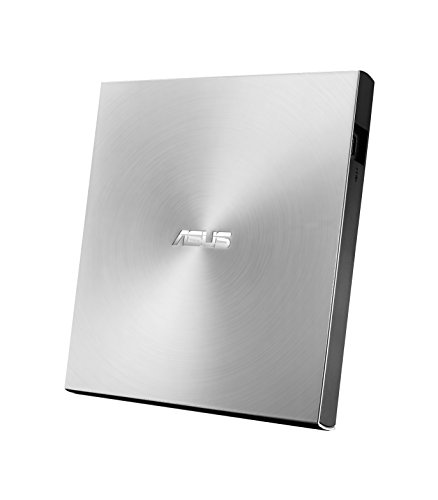 ASUS ZenDrive U9M USB-C externer Ultra Slim DVD Brenner (inkl. USB-C Kabel, Brennsoftware & Nero Backup App), für Apple MacBooks und Windows Pcs/Notebooks, USB 2.0, Silber