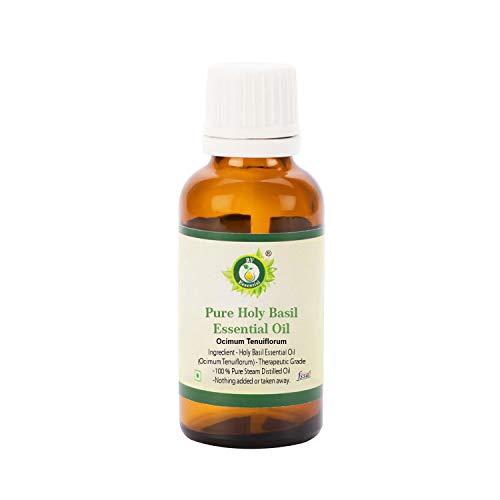 Ätherisches Öl Heiligbasilikum - Ocimum Tenuiflorum - Tulsi Heiligbasilikum - 100% reines natürliches - dampfdestilliert - therapeutische Qualität von R V Essential -