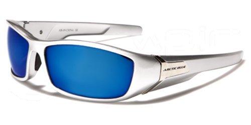 ArcticBlue Sonnenbrillen - Sport - Radfahren - Skifahren - Laufen - Driving - Motorradfahrer / Mod. Kite Grau Blau Spiegel / One Size Adult / 100% UV400 Schutz