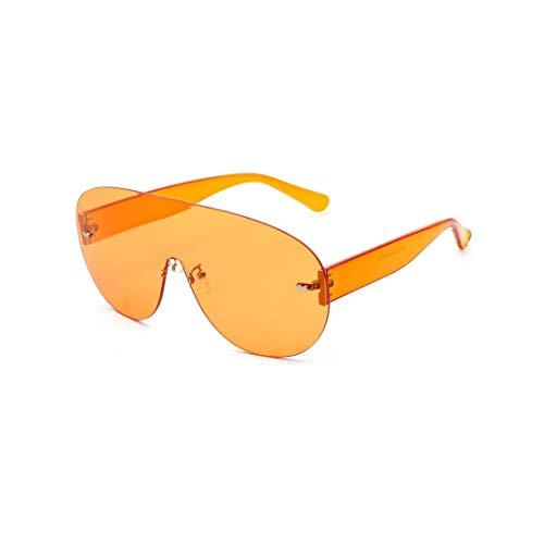 WULE-RYP Polarisierte Sonnenbrille mit UV-Schutz Randlose Einteilige runde Sonnenbrille, Big Frame Sunglasses. Superleichtes Rahmen-Fischen, das Golf fährt (Farbe : Orange)