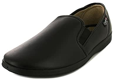 Mens Black Leather Look Basic Slippers - Black - UK SIZE 6