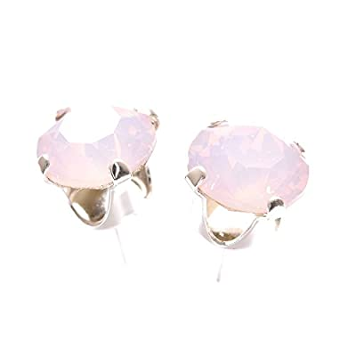 pewterhooter 925 Sterling Silver stud earrings expertly made with Rose Water Opal crystal from SWAROVSKI®. London box.