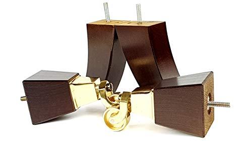 Knightsbrandnu2u 4x Massivholz Möbel Beine Ersatz Castor Füße für Sofas, Stühle, Sofas, Hockern-M8(8mm)-tsp2013_ br171, braun im antik-Finish, M8(8mm) - Mahagoni-holz-finish Couchtisch