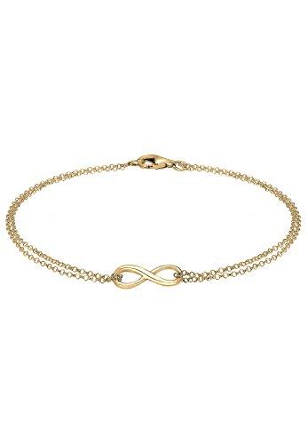Elli Damen Schmuck Echtschmuck Armband Gliederarmband Infinity Liebe Basic Sterling Silber 925 Vergoldet Länge 18 cm