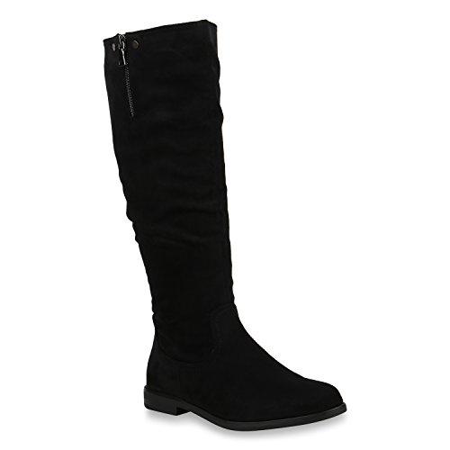 Klassische Damen Stiefel Leicht Gefütterte Boots Nieten Schuhe 153704 Schwarz Nieten 39 Flandell