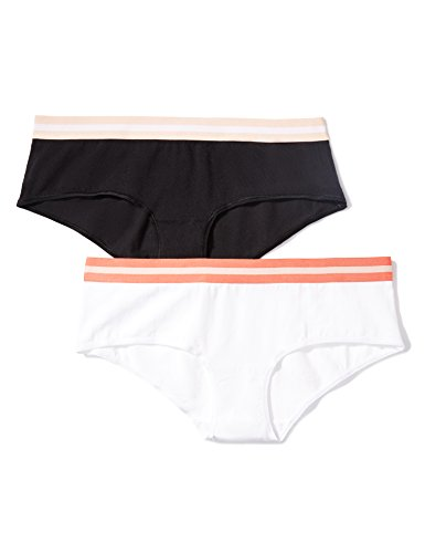 IRIS & LILLY Braguita Hipster Estilo Culotte Mujer, Pack de 2, Multicolor (White With Deep Sea Coral/black With Spanish Villa), Large