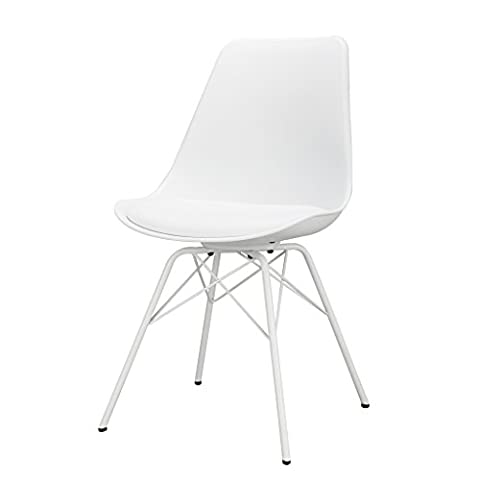 LANGRIA Modern Mid-Century Plastic Dining Chair Dowel-Leg Armless Well-Padded Comfortable