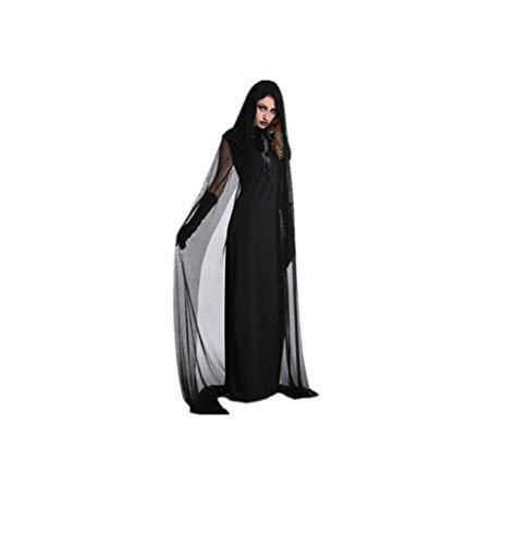 PUDDINGY® Halloween Kleidung Erwachsene Cosplay Hexe Kleider Schwarz Mesh Langer Rock Mantel,XL