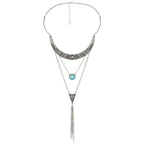 YAZILIND Femmes Multilayer Charme long collier en argent Turquoise Bead Vintage Idée Cadeau Bijoux