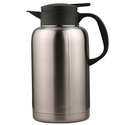 Sjq-coffee pot caffettiera isotermica in acciaio inox - doppia bottiglia d'acqua in vetro isolante con manico resistente al calore per casa, ufficio o festa, 2l, 6 tazze