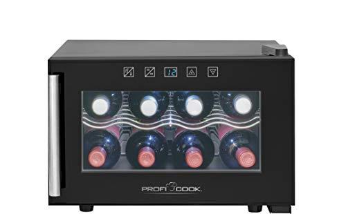 ProfiCook PC-GK 1162 Glastür-Getränke-Flaschen-Kühlschrank/EEK A / 20 L / 135 kWh/LED Innenraumbeleuchtung/Sensor-Touch-Steuerung/Bedienfeld mit LED-Display/Thermoelektrische Kühlung -