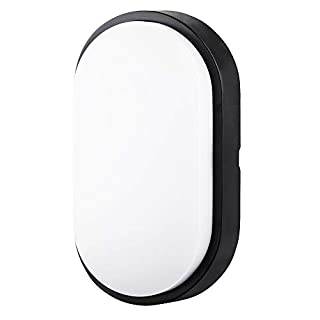 10W LED 4000K IP54 Flush Wall Mounted Oval Bulkhead Light Fitting with Black Trim - Perfect for Indoor, Outdoor, Bath, Office, Kitchen, Hallway, Corridor, Utility, Garden, Shed, Workshop, Patio etc