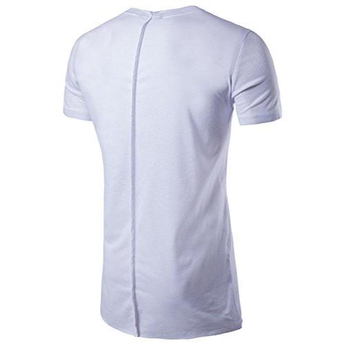 CHENGYANG Herren Sommer Unregelmäßige Saum Kurzarm Shirt Stylische Langen T-shirt Weiß