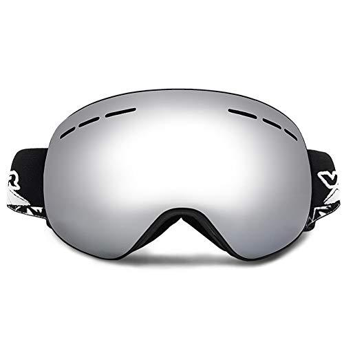 WZYU Skibrille,Snowboardbrille Für Damen Und Herren, Gute Belüftung, Geeignet Für Skifahren Für Erwachsene Und Jugendliche, Snowboarden, Motorradfahren Und Motorschlittenfahren,Silber