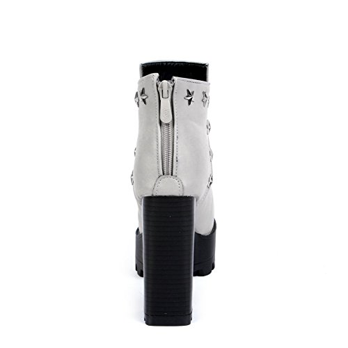 AgooLar Damen Pu Leder Niedrig-Spitze Metall Nägel Reißverschluss Hoher Absatz Stiefel Grau