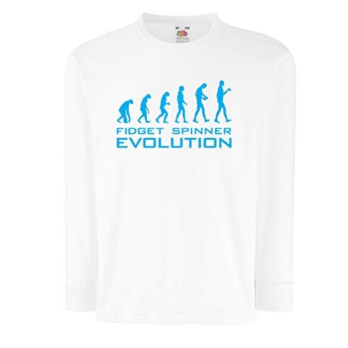 Kinder-T-Shirt mit Langen Ärmeln Die Evolution - Fidget Spinner (9-11 Years Weiß Blau)