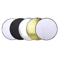 OUBO Faltreflektoren Set 5 in 1 Faltreflektoren Fotografie Rund Reflektor 60cm Studio Diffusor Gold Silber Weiß Schwarz Transparent für Fotostudio mit Tasche