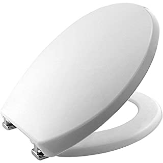 Global DIY | Toilet Seat | High Quality White Material Lid and Firm Hinges | Easy Release White Toilet Seat Soft Close with Top fixtures and Blind Hole Fittings with One Button Easy Release