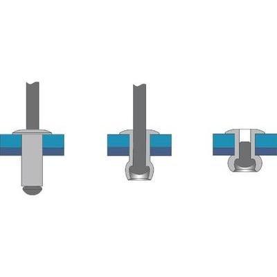 Rivet aveugle Ø4,0 mm, 8,0 mm, Aluminium/Acier, tête plate, 500 pièces Bralo