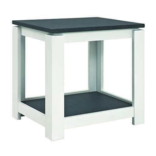 Haku Moebel 42579 Table d'appoint, MDF, Optique Granit/Blanc, 40x50x50 cm