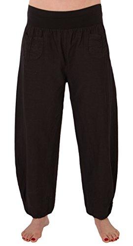FASHION YOU WANT Damen Leinenhose Größe 36/38 bis Größe 50/52 aus 100% Leinen - leichte Sommerhose Tunnelbund mit Gummizug und 2 aufgesetzten Taschen vorne - weiter Schnitt (50/52, schwarz)