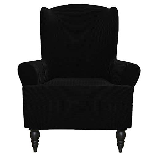 Greatime Stretch Sofabezug Sofaüberwurf Möbelschutz Sofaüberzug Couchbezug Couch Schild Sofahusse Weich mit Gummiband Schaumstreifen(Schwarz,Ohrensessel)