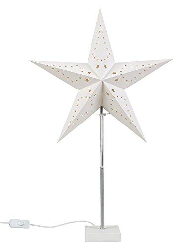 Idena Lampe mit Weihnachtsstern aus Papier, ca. 60 cm, weiß, 10045099