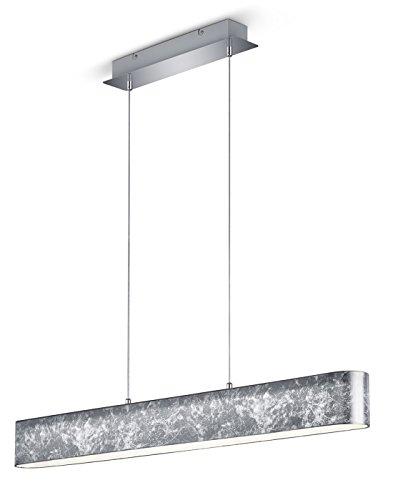 Trio Leuchten 320910189 Lugano A, LED Pendelleuchte, Nickel, 18 W, Integriert, Folienschirm silberfarbig, mit Switch-Dimmer, 8.5 x 100 x 150 cm