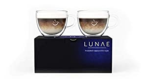 Lunae Cappuccino Cups, Double Walled Coffee Glass - 250ml