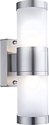 Globo G9 Houston IP44 Stainless Steel Outdoor Wall Light, Silver