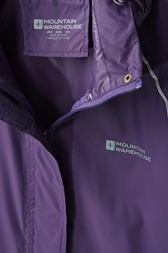 Mountain Warehouse Pakka Womens Waterproof Packable Jacket - Foldaway Hood Jacket, High Vis Ladies Coat, Lightweight Rain Jacket - for Cycling, Walking, Travelling, Purple, 22