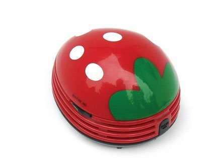niceeshop(TM) Erdbeere Muster Batteriebetrieben Tisch Staubsauger Mini Staub Reiniger,Rot (Muster Draht)